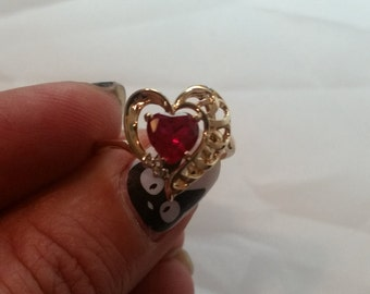 10k ruby heart with two diamonds ring, Magic Glo, gold heart, size 5, retro, vintage, perfect condition