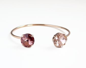 Blush and rose gold open cuff bracelet - rose gold open bangle bracelet - Swarovski crystal - rose crystal