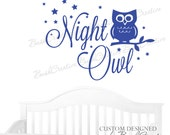 Wall Decal Personalized Night Owl Decor Owl Wall Decal Owl Nursery Decal Owl Wall Decal Nursery Decor Vinyl Wall Decal