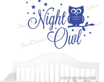 Wall Decal Personalized Night Owl Decor Owl Wall Decal Owl Nursery Decal Owl Wall Decal Nursery Decor Vinyl Wall Decal  095