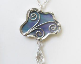 Pendant Necklace Stained Glass Jewelry Cloud Pendant Iridescent Gray Women's Jewelry Wire Work