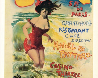 Cabour Grand Hotel Casino French Advertisement Poster  1890's - A 1968 Reproduction
