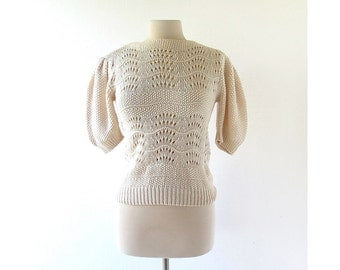 Vintage Crochet Sweater | Paper Moon | 1970s Sweater | Knit Top | S M