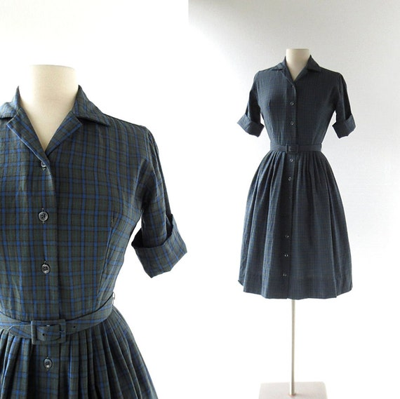 Vintage Pendleton Dress / 1950s Plaid Dress / 50s Dress / XS