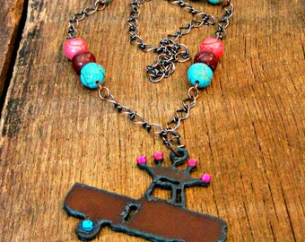 Rustic Truck Crown Necklace pink teal rhinestones Southern belle charm style country farm girl chic turquoise hot pink brown antique copper