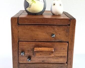Totoro dolls on TEAK WOOD BOX with drawers 167