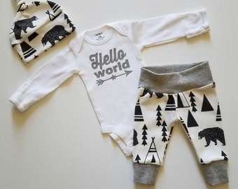 Baby Boy Newborn Take Home Outfit. Hello World. Bears and Tipis. Organic Leggings. Bring Home Baby Outfit. Boy Coming Home Outfit.