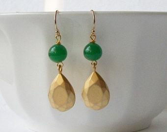 LAST ONE Emerald Green Dangle Earrings Eco-Friendly