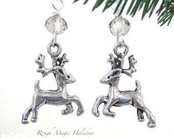 Reindeer Earrings Silver Christmas Jewelry, Cute Holiday Present for Woman or Girl, Winter Woodland Deer, Stocking Stuffer Gift for Her E407
