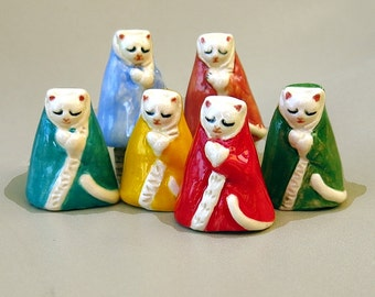Jizo Kitty Cat Colorful Porcelain Tiny Collectible Miniature Ceramic Folk Art Kitten Figurine Buddhist