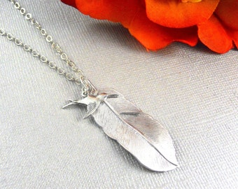 Silver Feather Necklace, Feather, Feather Pendant, Sparrow Feather, Sparrow Feather Necklace, Leaf Necklace