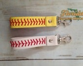 Baseball or Softball Leather Stitched Key Fob