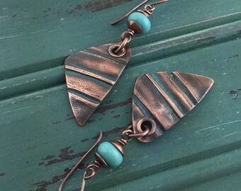 Jewelry Earrings Wire Wrapped Handmade Earrings Handmade Copper Earrings Copper Dangle  Earring Rustic Copper Jewelry Bohemian  Earrings
