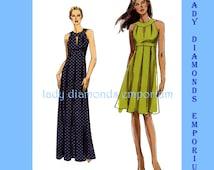 Vogue V8574 Womens Sexy Raised Waist Dress size 6 8 10 12 Bust 30.5 - 34 Very Easy Petite Size Mini Midi Maxi Sewing Pattern 8574 Uncut