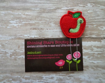Planner Accessories - Red Back To School Apple With A Lime Green Worm Felt Paper Clip Or Bookmark - Book Accessory For All Ages