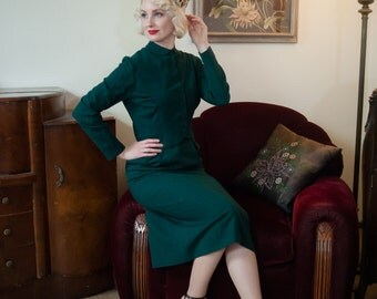Vintage 1950s Suit - Beautiful 50s Spruce Green Checked Tailored Wool Suit with Cropped Jacket