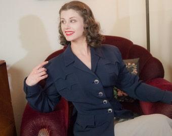 Vintage 1940s Jacket - Sophisticated Navy Blue Gabardine 40s Suit Jacket with Angular Detailing