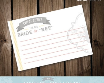 """Advice Cards (pink, yellow and grey) - Bride to """"BEE"""" Bridal Shower  -  Instant Downoload Printable DIY Digital File"""