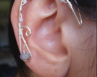 Silver Elf Ear Ear Cuff  w/ quarts and amethyst stones & unique wirework