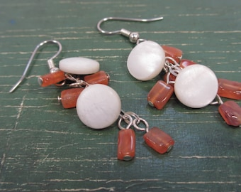 Vintage mother of pearl button and carnelian earrings
