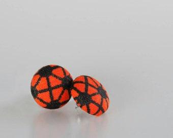 Stud earrings, African stud earrings, African jewelry, African earrings, Africa earrings, Fabric earrings, Button earrings, Africa, African