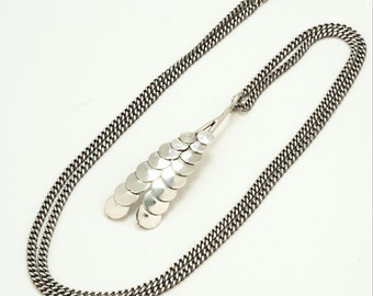 Sterling silver wheat design pendant, modernist leaf necklace, contemporary jewelry