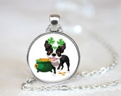 St Patrick's Day Boston Terrier Changeable Magnetic Pendant Necklace and Paw Print Organza Bag