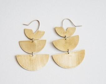 Lunar Short Earrings - Half Moon, Circle Dangly Earrings in Brass and Sterling