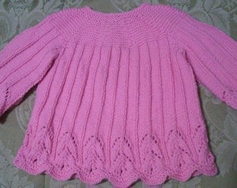 Hand Knit Infant Pink Dress scalloped edging and sleeve button back closure, Size 12-18 months