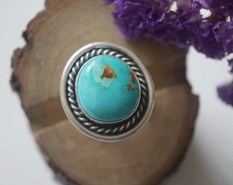 Pilot Mountain Turquoise Ring in Sterling Silver Handmade Size 8.5US