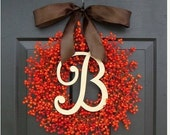 FALL WREATH SALE Orange Berry Fall Wreath, Fall Monogram Wreath Thanksgiving Wreath, Fall Decor with Weatherproof Berries