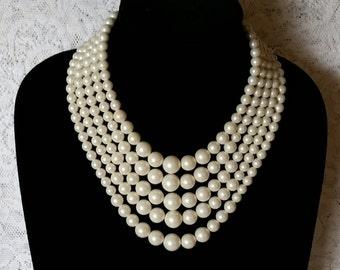 Beautiful, Wedding, Bridal, White, Vintage, Faux Pearl,  5 Strand, Bridal, Necklace