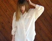 Textured Stripe Cream Silk Blouse - Vintage 90s - L XL