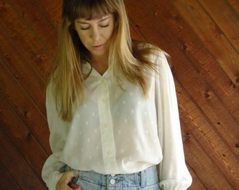 Sheer White Embroidered Dot Secretary Blouse - Vintage 70s - M L