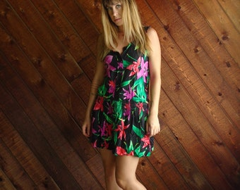 Floral Print Drop Waist Mini Dress - Vintage 80s - XS/S