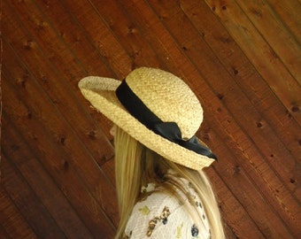 Straw Boater Sun Hat with Bow - Vtg 90s - Liz Claiborne