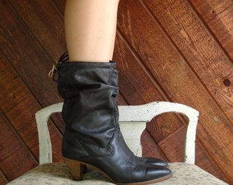 Black Slouchy Leather Mid Calf Boots - 80s - 6.5 7
