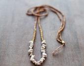 ON SALE Mixed Media Boho Necklace /  Beige - Golden - Brown Necklace /  Gemstone Necklace / Beige Brown Nekclace / Magnesite Necklace