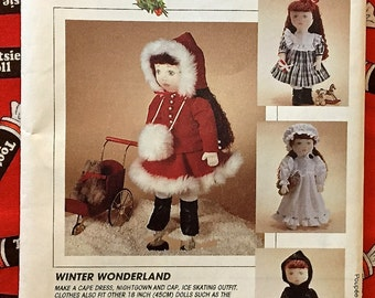 """WINTER WONDERLAND Doll Sewing Pattern ~ 18"""" Dolls Clothes Skating Outfit Bonnet Nightgown Bloomers Boots 7436 OOP"""
