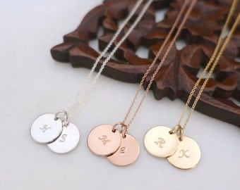 """Two 1/2"""" Disc Initial Necklace, Silver Initial Necklace, Rose Gold Filled Disc Necklace, Personalized Necklace, Monogram Disc Charm Necklace"""