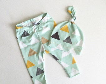 Baby Boy Leggings with Matching Hat - Premium Custom Fabric