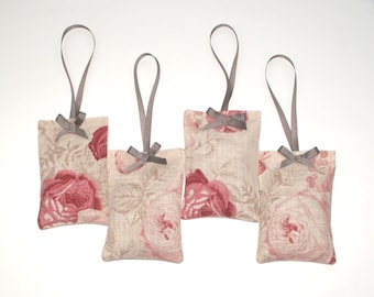 Kate Forman - Roses Linen  -  Lavender Sachets / Hangers - 2 x Scented Sachets - Red & Pink Roses - Organic English Lavender