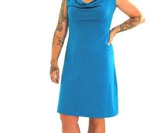 Simple Cowl Tank Dress - S - MARINE - Organic Cotton/Spandex