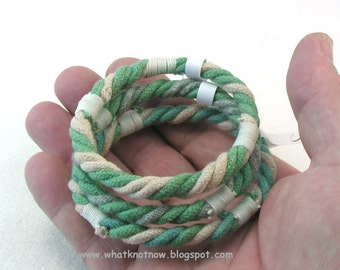 green grommet bracelets rope bracelets soft bangles hand dyed cotton stackable beach bangles 3675