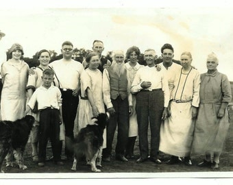 vintage Photo Family Get Together 1920s Boy Dogs Stylilsh Woman Old Man Beard The Whole Gang
