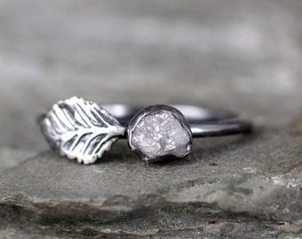 Leaf & Raw Diamond Engagement Ring Set - Nature Inspired - Raw Uncut Rough Diamond Rings - Raw Diamond Jewellery Made in Canada