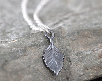 Leaf Pendant - Sterling Silver Necklace - Little Leaf - Dark Patina - Nature Inspired Jewellery - Made in Canada
