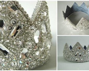 Crystal Crown Swarovski Crystal Crown Royal Crown Imperial Crown Wedding Crown King Crown Headpiece  Costume Crown Statement Headpiece