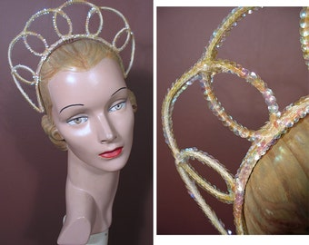 1940s Aurora Borealis Sequin Wedding or Bridal Tiara