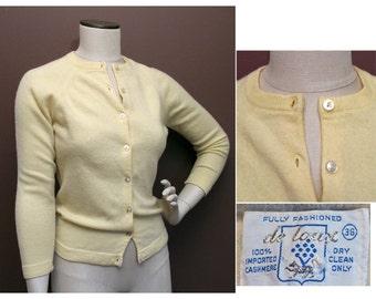 1950s Vintage Lemon Yellow Cashmere Cardigan Sweater SZ S